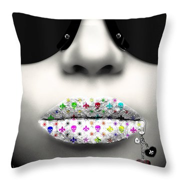Kiss Me Silver Throw Pillow