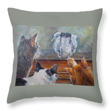 Throw Pillow featuring the painting Kiss My Assssssss by Donna Tucker