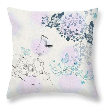 Throw Pillow featuring the digital art Kiss To A New Born by Barbara Orenya