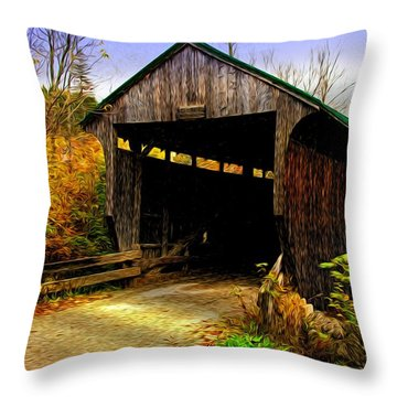 Kissing Bridge Throw Pillow by Bill Howard