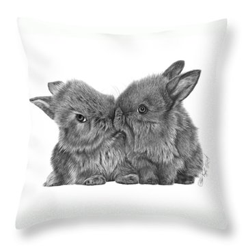 Kissing Bunnies - 035 Throw Pillow by Abbey Noelle
