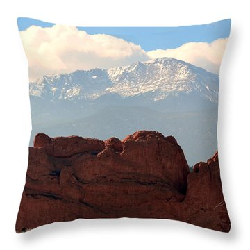 Throw Pillow featuring the photograph Kissing Camels Against Pikes Peak by Clarice  Lakota
