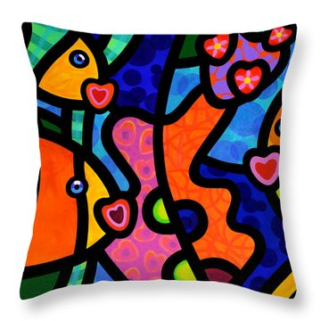 Kissing Fish Reef Throw Pillow