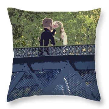 Kissing On A Bridge Throw Pillow