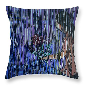 Kissing Rain Throw Pillow