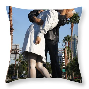 Throw Pillow featuring the photograph Kissing Sailor - The Kiss - Sarasota by Christiane Schulze Art And Photography