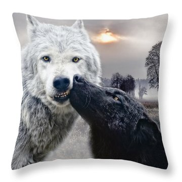 Kissing Wolves Throw Pillow