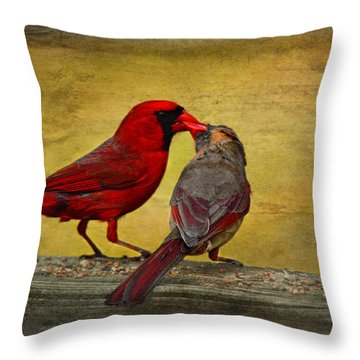 Kissy Kissy Birds Throw Pillow