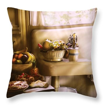 Kitchen - A 1930's Kitchen  Throw Pillow by Mike Savad
