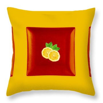 Kitchen Art - Citrus Lemon Throw Pillow by Aimelle ML
