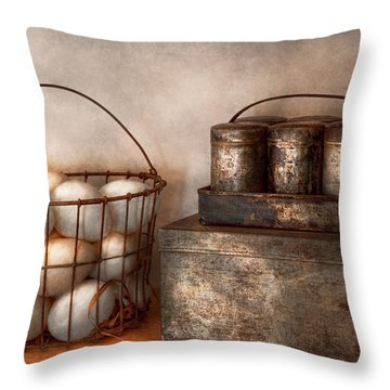 Kitchen - Food - Eggs - Fresh This Morning Throw Pillow by Mike Savad