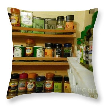 #kitchen #food #herbs And #spices Throw Pillow by Isabella F Abbie Shores FRSA