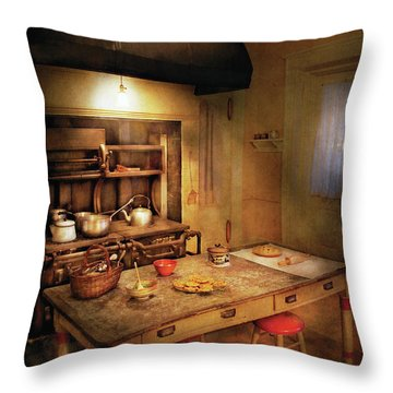 Kitchen - Granny's Stove Throw Pillow by Mike Savad