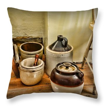 Kitchen Old Stoneware Throw Pillow by Paul Ward