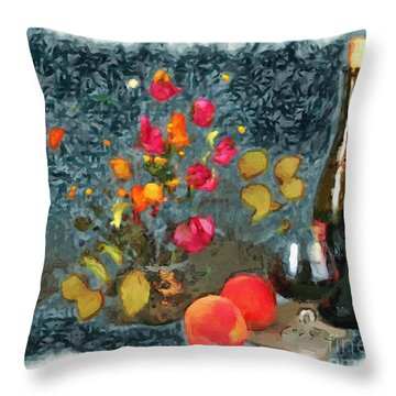 Kitchen - Peaches And Wine Painting  Throw Pillow