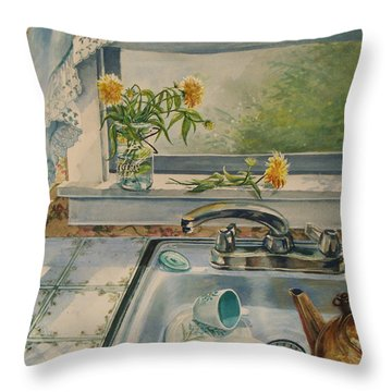 Throw Pillow featuring the painting Kitchen Sink by Joy Nichols