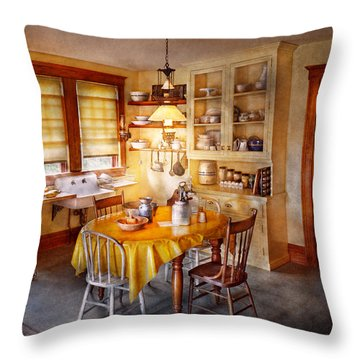 Kitchen - Typical Farm Kitchen  Throw Pillow by Mike Savad