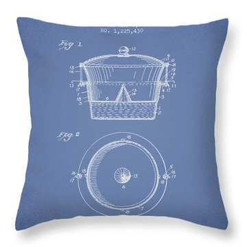 Kitchen Utensil Patent From 1917 - Light Blue Throw Pillow