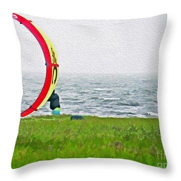 Kite Boarder Throw Pillow