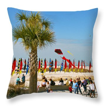 Kite Day At St. Pete Beach Throw Pillow