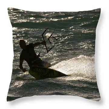 Kite Surfer 03 Throw Pillow by Rick Piper Photography