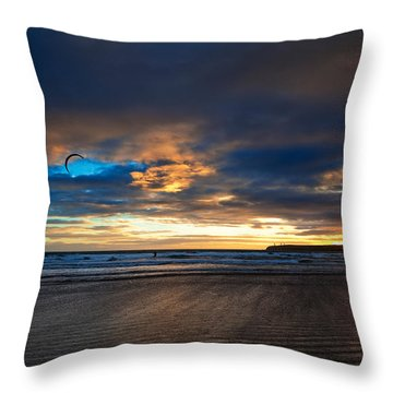 Kite Surfers On Tramore Beach Throw Pillow