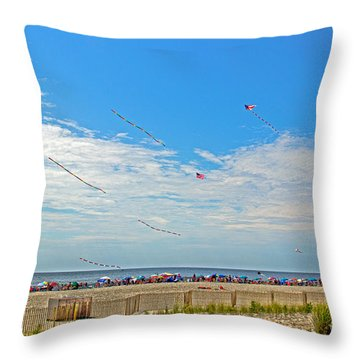 Kites Flying Over The Sand Throw Pillow