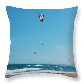 Kitesurf Lovers Throw Pillow by Gina Dsgn