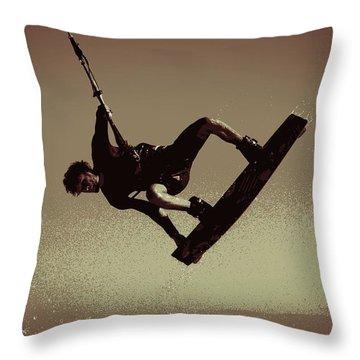 Throw Pillow featuring the photograph Kitesurfing Flight II by Pamela Blizzard