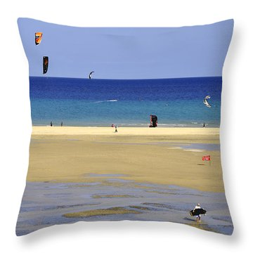 Throw Pillow featuring the photograph Kitesurfing Spot And Beach View At Melia Gorionez  by Julis Simo