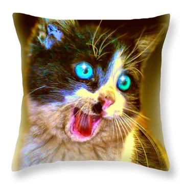 Throw Pillow featuring the painting Kitten by Daniel Janda