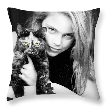 Throw Pillow featuring the photograph Kitten Eyes by Stwayne Keubrick