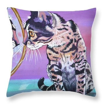 Throw Pillow featuring the painting Kitten Image by Phyllis Kaltenbach