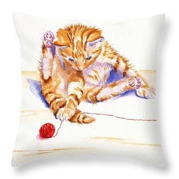 Kitten Interrupted Throw Pillow