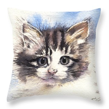 Throw Pillow featuring the painting Kitten Lily by Sandra Phryce-Jones