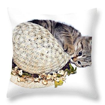 Throw Pillow featuring the photograph Kitten With An Easter Bonnet by Susan Leggett