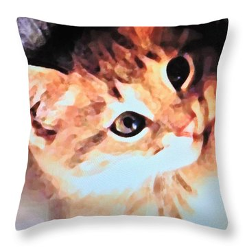 Kittenish Throw Pillow by Renee Michelle Wenker