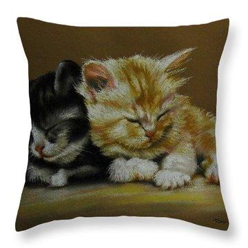 Kittens Asleep Throw Pillow