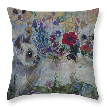 Kittens In Wildflowers Throw Pillow by Avonelle Kelsey