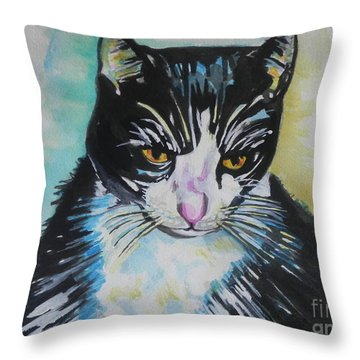 Kitty ..all Grown Up Throw Pillow by Chrisann Ellis