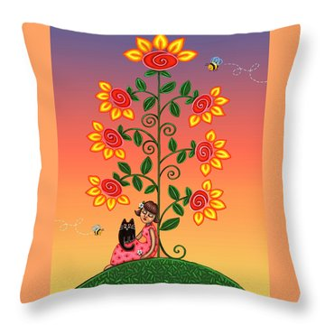 Kitty And Bumblebees Throw Pillow by Victoria De Almeida
