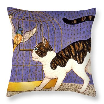 Kitty And Parakeet Throw Pillow by Linda Mears