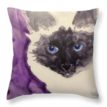 Kitty Throw Pillow by Barbara Tibbets