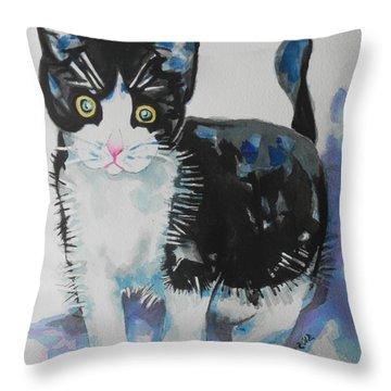 Kitty Throw Pillow by Chrisann Ellis