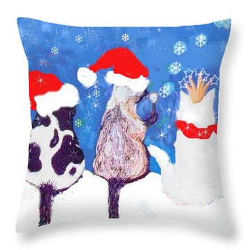 Kitty Christmas Throw Pillow