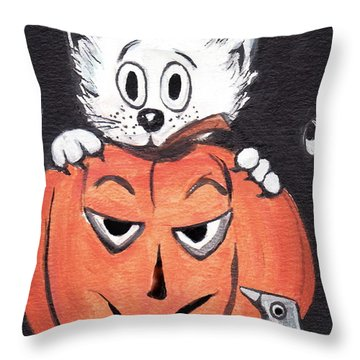 Kitty Hates Halloween Throw Pillow