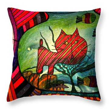Kitty In A Fish Bowl - Abstract Cat Throw Pillow