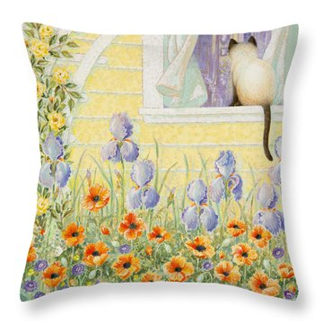 Kitty In The Window Throw Pillow