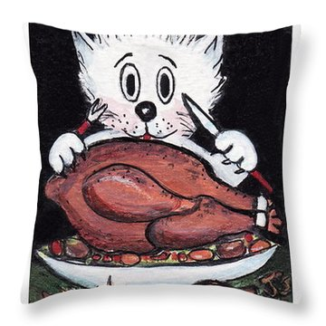 Kitty Loves Thanksgiving Throw Pillow