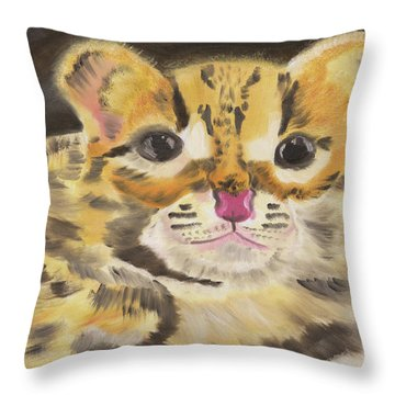 Peek A Boo Kitty Throw Pillow by Meryl Goudey